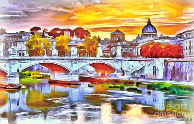 Painting - The Bridge Of Vittorio Emmanuel II In Rome by Sergey Lukashin