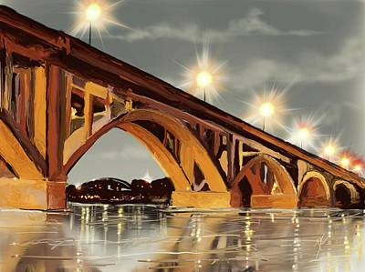 Digital Art - The Bridge On The River by Darren Cannell