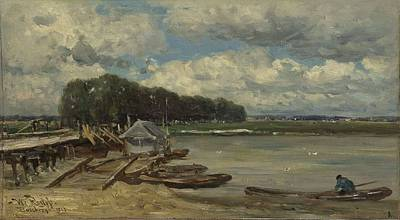 Painting Royalty Free Images - The bridge over the river IJssel in Doesburg Willem Roelofs I 1889 Royalty-Free Image by Willem Roelofs