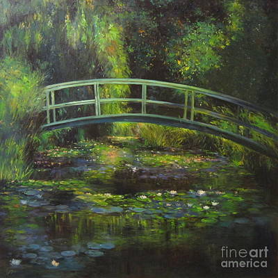 The Bridge Over The Waterlily Pond Original by Farideh Haghshenas