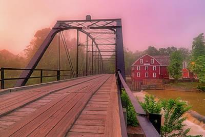 Art Print featuring the photograph The Bridge To War Eagle Mill - Arkansas - Historic - Sunrise by Jason Politte