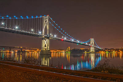 The Bridge With Blue Holiday Lights Art Print by Angelo Marcialis