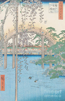 Wisteria Drawing - The Bridge With Wisteria by Hiroshige