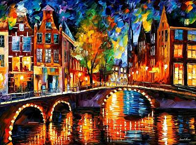 Seascape Oil Painting - The Bridges Of Amsterdam by Leonid Afremov