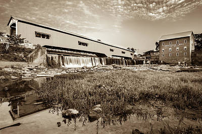 Old Mills Photograph - The Bridgeton Mill And Covered Bridge - Indiana - Sepia Tone by Gregory Ballos