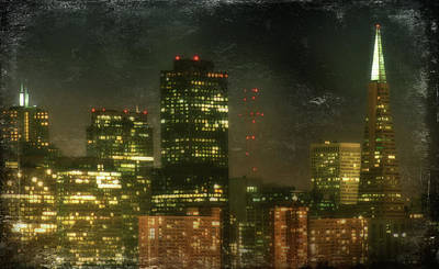 Evening Digital Art - The Bright City Lights by Laurie Search