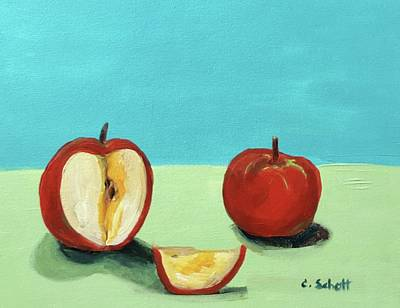 Painting - The Brilliant Red Apples With Wedge by Christina Schott