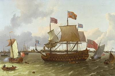 Britannia Painting - The Britannia In Rotterdam by Ludolf Backhuysen