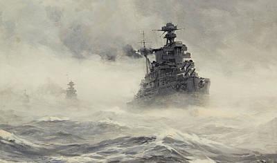 Sphere Painting - The British Fleet by Montague Dawson
