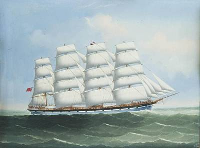 Calcutta Painting - The British Four Master County Of Dumfries Under Full Sail by Lai Fong