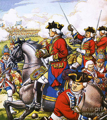 French Man-of-war Painting - The British Life Guards Clash With The French At Fontenoy In 1745 by Pat Nicolle