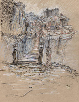 Ghost Towns Drawing - The Broke Bridge Pass by Ethan Harris