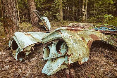Scrap Metal Yard Photograph - The Broken Scrap Car by Martin Bergsma