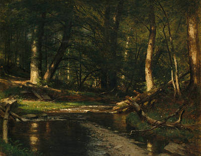 Worthington Painting - The Brook In The Woods by Worthington Whittredge