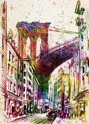 Brooklyn Bridge Digital Art - The Brooklyn Bridge 03 by Aged Pixel