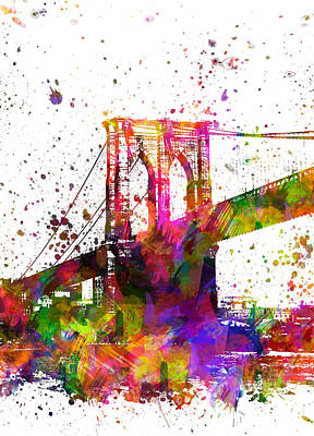 Landscape Digital Art - The Brooklyn Bridge 04 by Aged Pixel