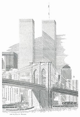 New York City Skyline Drawing - The Brooklyn Bridge by Bruce Arvon