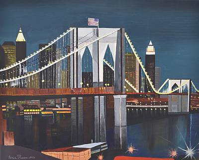 Painting - The Brooklyn Bridge by Donna Blossom