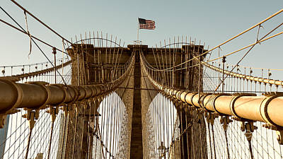 Photograph - The Brooklyn Bridge Flag by Alissa Beth Photography