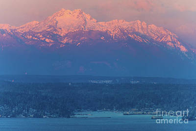 Mountain Royalty-Free and Rights-Managed Images - The Brothers Alpenlgow Sunrise Above Eagle Harbor by Mike Reid