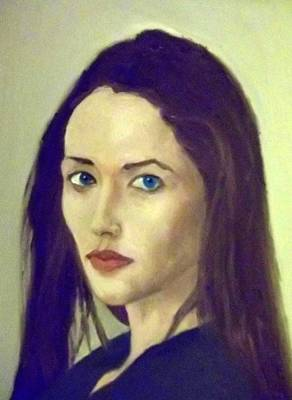 Pale Complexion Painting - The Brunette With Blue Eyes by Peter Gartner
