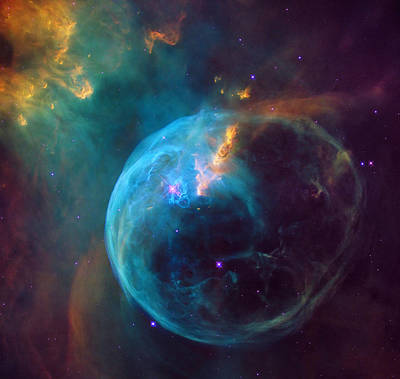 Hubble Space Telescope Photograph - The Bubble Nebula Ngc 7653 by Mark Kiver