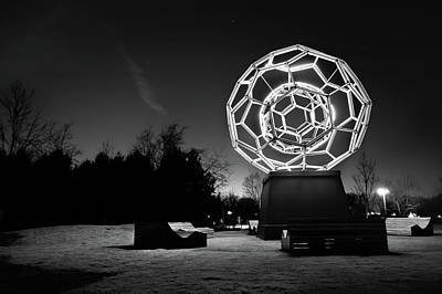 Photograph - The Buckyball - Crystal Bridges Museum - Black And White by Gregory Ballos