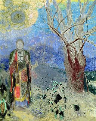 Meditating Painting - The Buddha by Odilon Redon