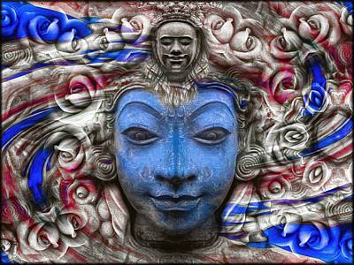 Buddha Photograph - The Buddhas Of Hyandhara - Blue  by Daniel Arrhakis