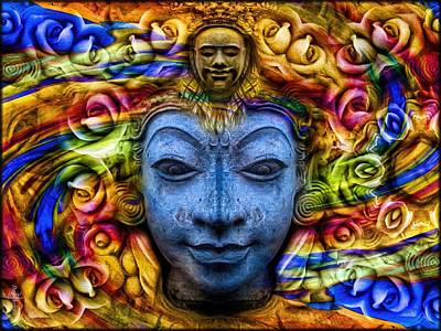 Buddha Photograph - The Buddhas Of Hyandhara - Gold Blue  by Daniel Arrhakis