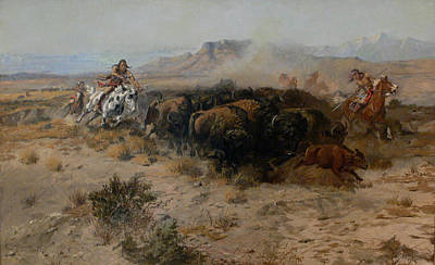 Indian Chief Digital Art - The Buffalo Hunt by Charles Russell