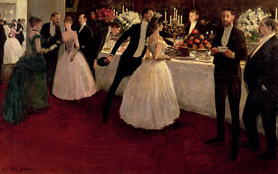 Black Tie Painting - The Buffet by Jean Louis Forain