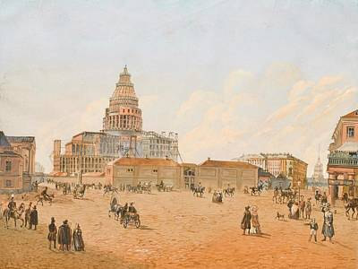 The Building Of St. Isaac Cathedral Art Print