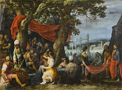 Painting - The Building Of The Tabernacle With The Israelites Sewing The Curtains by Adriaen van Stalbemt