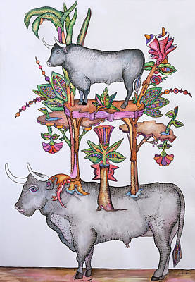 Luis Drawing - The Bull And Its Descendants by Jose Luis Olivares