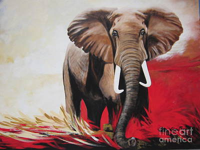 Painting -  Win Win - The  Bull Elephant  by Sigrid Tune
