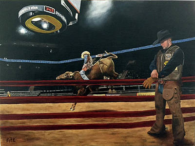 Painting - The Bull Rider by Rick Fitzsimons