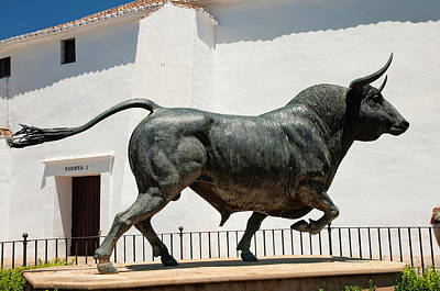 The Bull Statue. Plaza De Toros. Ronda Art Print