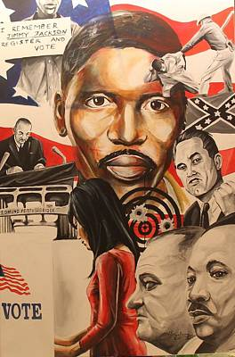 Painting - The Bullets Of Change Remembering Jimmy Lee Jackson by Henry Blackmon