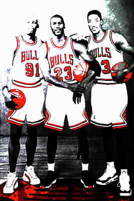 Sun Rays Mixed Media - The Bulls Big Three by Brian Reaves