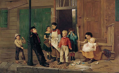 Crying Painting - The Bully Of The Neighborhood by John George Brown