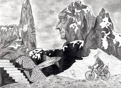 Mountain Biking Drawing - The Bunny Bike by Doug Hiser
