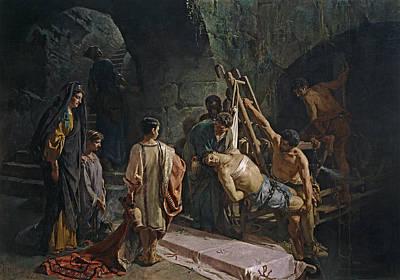 Alejandro Painting - The Burial Of Saint Sebastian by Alejandro Ferrant y Fischermans