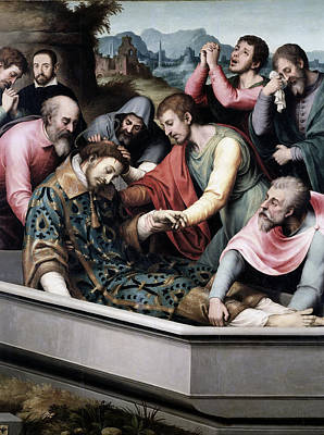 Juanes Painting - The Burial Of Saint Stephen by Juan de Juanes