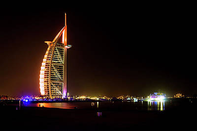 Photograph - The Burj Al Arab At Night by Andrew Matwijec