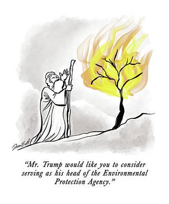 Drawing - The Burning Bush by Darrin Bell
