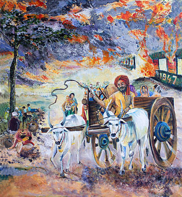 Bullock-cart Painting - The Burning Punjab-1947 by Sarabjit Singh