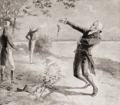 Restored Drawing - The Burr Hamilton Duel by Henry Alexander Ogden