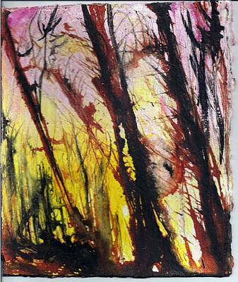 Painting - The Bush Sunset by Anne-D Mejaki - Art About You productions