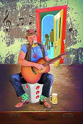 Digital Art - The Busker by John Haldane